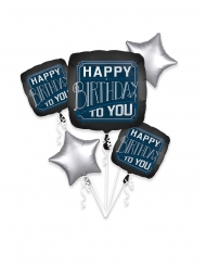 Bouquet ballons aluminium Happy Birthday to you