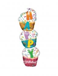 Ballon aluminium Cupcakes Happy Birthday 33 x 104 cm