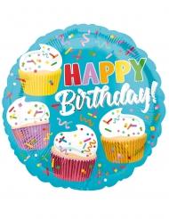 Ballon aluminium Happy Birthday cupcakes 43 cm