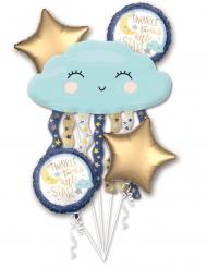 Bouquet ballons aluminium Nuages bleus