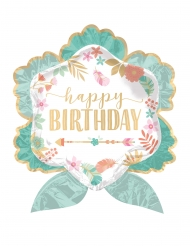 Ballon aluminium fleur Happy Birthday vert d'eau 63 x 68 cm