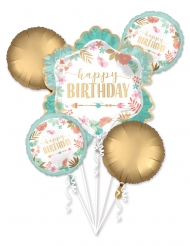 Bouquet ballons aluminium en forme de fleur Happy Birthday vert d'eau