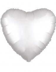 Ballon aluminium cœur satin blanc 43 cm
