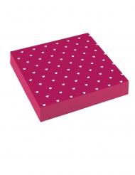 20 Serviettes en papier mauves cœurs blancs 33 x 33 cm