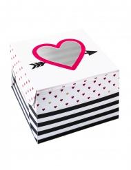 2 Boîtes en carton coeurs rouges 7,5 x 11,5 cm