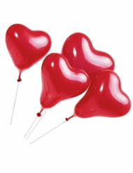 5 Ballons coeur rouges avec tiges 20 cm