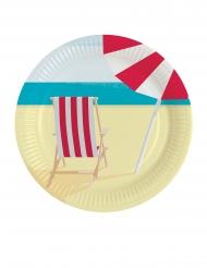 8 Assiettes en carton Transat de plage 23 cm