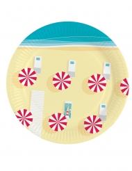8 Petites assiettes en carton Parasols de plage 18 cm