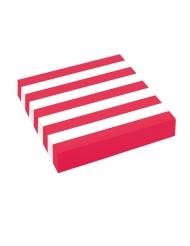 20 Serviettes en papier rouges et blanches rayées 33 x 33 cm