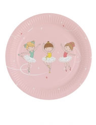 8 Petites assiettes en carton Petite Ballerine 18 cm