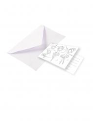 8 Cartons d'invitations avec enveloppe Petite Ballerine