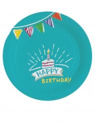 8 Petites assiettes en carton Happy Birthday kraft et bleues 18 cm