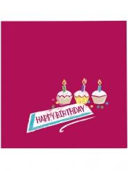 20 Petites serviettes en papier Happy Birthday rouges 25 x 25 cm
