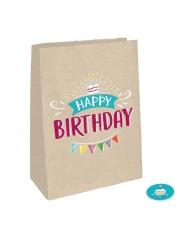4 Sacs cadeaux kraft Happy Birthday avec stickers