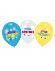 6 Ballons en latex Happy Birthday bleu, blanc et jaune 27,5 cm