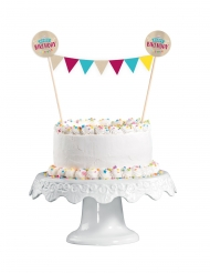 Cake topper Happy Birthday kraft et bleu