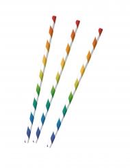 12 Pailles en papier rayées multicolores 19,5 cm