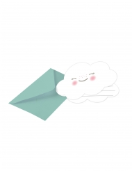 8 Cartons d'invitations avec enveloppe Petit Nuage menthe