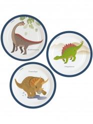 8 Assiettes en carton Grands Dinosaures 23 cm