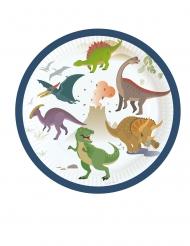 8 Petites assiettes en carton Grands Dinosaures 18 cm