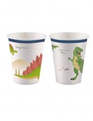 8 Gobelets en carton Grands Dinosaures 250 ml