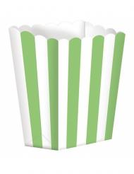5 Boîtes à popcorn rayures vertes et blanches 9,5 x 13,5 cm