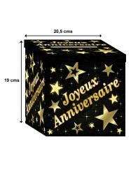 Urne en carton joyeux anniversaire noir et doré