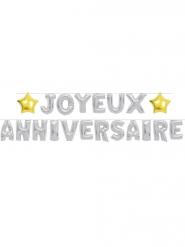 Guirlande ballons Joyeux Anniversaire argentée 6m