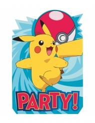 8 Cartons d'invitation en carton Pokémon™ 20 x 13 cm