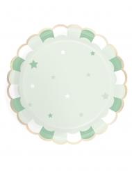 8 Assiettes en carton festonnées vert pastel 23 cm