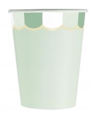 8 Gobelets en carton festonnés vert pastel 200 ml