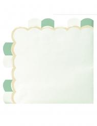 16 Serviettes en papier festonnées vert pastel 33 x 33 cm