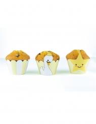 6 Habillages moules à cupcake Bébé Cygne blancs et jaunes