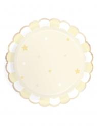 8 Assiettes en carton festonnées jaune pastel 23 cm