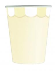 8 Gobelets en carton festonnés jaune pastel 200 ml