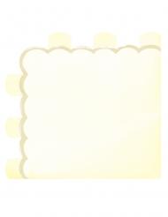 16 Serviettes en papier festonnées jaune pastel 33 x 33 cm