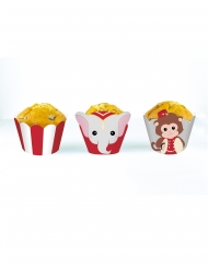6 Habillages moules à cupcake Vintage Circus blancs et rouges