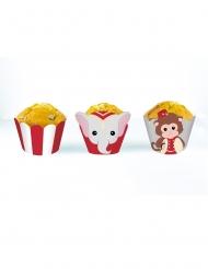 6 Habillages moules à cupcake Vintage Circus blancs et rouges