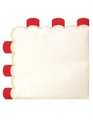 16 Serviettes en papier festonnées rouges vintage 33 x 33 cm