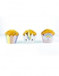 6 Habillages moules à cupcake Bébé Licorne