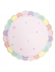 8 Assiettes en carton festonnées rose pastel 23 cm