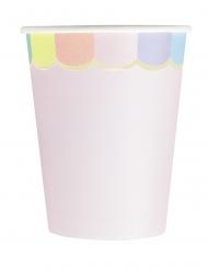 8 Gobelets en carton festonnés rose pastel 200 ml