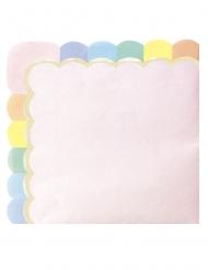 16 Serviettes en papier festonnées rose pastel 33 x 33 cm