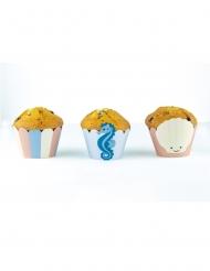 6 Habillages moules à cupcake Under the sea bleu pastel