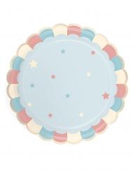 8 Assiettes en carton festonnées bleues pastel 23 cm
