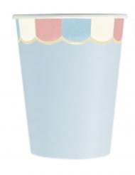 8 Gobelets en carton festonnés bleus pastel 200 ml