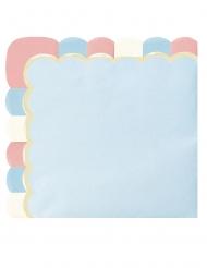 16 Serviettes en papier festonnées bleu pastel 33 x 33 cm