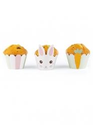 6 Habillages moules à cupcake Lapinou blancs