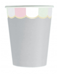 8 Gobelets en carton festonnés gris pastel 200 ml