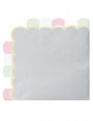 16 Serviettes en papier festonnées gris pastel 33 x 33 cm